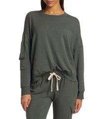 monrow women's cargo pocket sweatshirt - evergreen - size xs