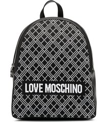 love moschino intarsia-knit logo backpack - black