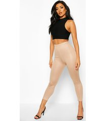 high waist cropped wet look legging, sand