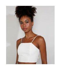 top cropped feminino mindset com amarração alça fina decote reto off white