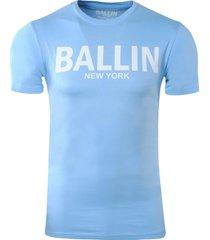 ballin est. 2013 heren t-shirt ronde hals slim fit licht blauw