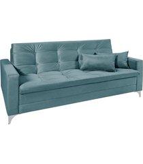 sofá cama 3 lugares facility reclinável império estofados azul turquesa