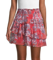 iro women's herty floral-print mini skirt - red - size 36 (4)
