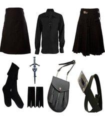 traditional plain black tartan kilt costume deal  custom handmade belt sporran