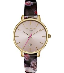 kate stainless steel and leather strap watch