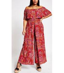 river island womens plus red paisley bardot jumpsuit