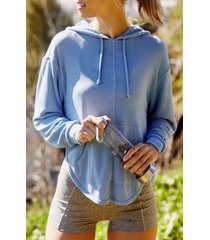 women's free people fp movement back into it cutout hoodie, size large - blue