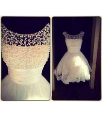 charming scoop beads white lace&tulle short homecoming dress/party/bridal dress