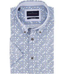 korte mouwen overhemd portofino blauw dessin