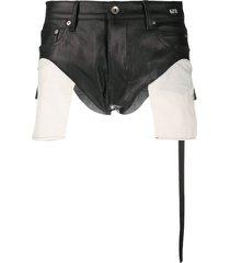 rick owens exposed-pocket hot pants - black