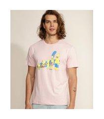 camiseta masculina os simpsons manga curta gola careca rosa claro