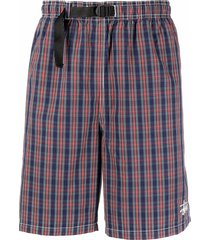 stussy embroidered logo plaid-print shorts - blue