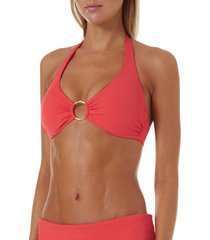 women's melissa odabash brussels underwire bikini top, size 10 - orange