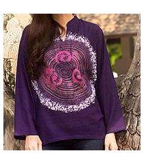 cotton batik tunic, 'thai magic in purple' (thailand)