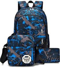 mochila/ conjunto para hombre de gran capacidad para-azul