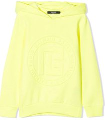 balmain neon yellow cotton hoodie
