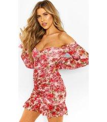 geplooide mesh bloemenprint mini jurk met open schouders, roze