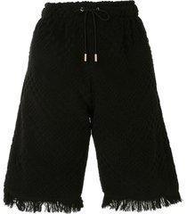 marine serre jacquard knee-length shorts - black