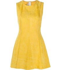 marni soft leather flared dress - yellow