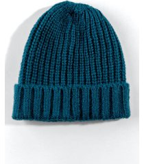 darcey knit fold-over beanie - teal