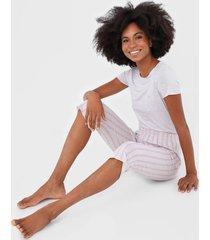 pijama malwee liberta listrada cinza/rosa - cinza - feminino - viscose - dafiti