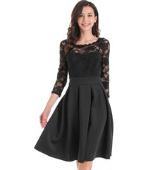 vestido clásico encaje negro nicopoly