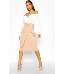 contrast off shoulder wrap midi dress, stone
