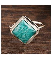amazonite cocktail ring, 'blissfully blue' (india)