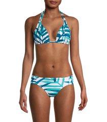 la blanca women's vista palm-print tie bikini top - caribbean - size 12