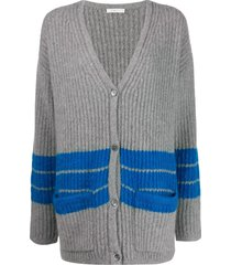 6397 striped v-neck cardigan - grey