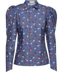 tabita blus långärmad blå custommade