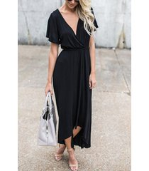 vestido largo de manga corta con cuello en v y diseño de lazo negro