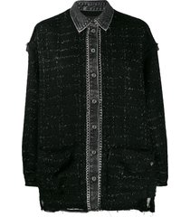 diesel lurex bouclé denim shirt - black