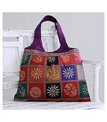 embellished tote handbag, 'purple in kutch' (india)