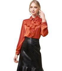 camisa mx fashion com babados emanuelle vermelha - kanui