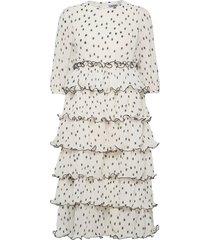 pleated georgette maxi dress galajurk wit ganni