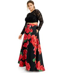 b darlin trendy plus size 2-pc. lace & floral-print dress, created for macy's
