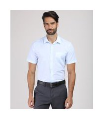 camisa masculina comfort listrada com bolso manga longa azul claro