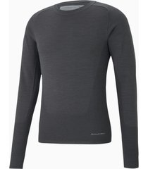 porsche design evoknit herensweater met ronde hals, grijs, maat m | puma