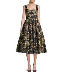 foil print fit-&-flare dress