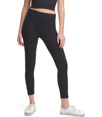 dkny seamless high waist rib leggings, size x-small in black at nordstrom