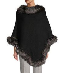silver fox fur-trim wool-blend poncho