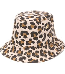 mackintosh dailly leopard print bucket hat - brown