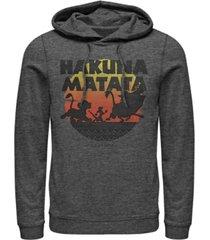 disney men's lion king hakuna matata sunset, pullover hoodie