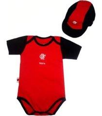 kit body manga curta reve d'or sport bicolor e boné flamengo vermelha e preta