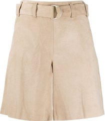 arma high waisted belted shorts - neutrals