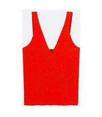 blusa regata em tricô canelado com decote v | cortelle | laranja | gg