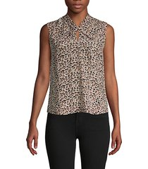 leopard-print silk sleeveless top