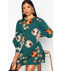 floral print puff sleeve shift dress, green