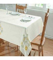 toalha de mesa dourados enxovais dalia 1,40x1,40 palha/amarelo